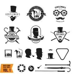 Collection of vintage gentleman emblems labels vector image
