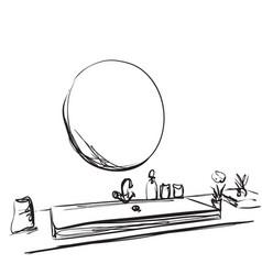 hand drawn bathroom interior mirror washbasin vector image vector image