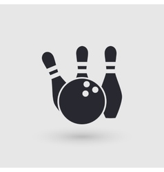Icon bowling Ball and three pins Pictogram vector image
