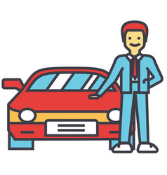 Man buying new car auto dealer vehicle vector