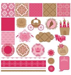 Princess Girl Birthday Set vector image vector image