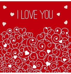 Red greeting card with floral heart shape I love vector image