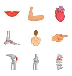 sound body icons set cartoon style vector image