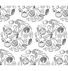 Vegetable Doodle Seamless Pattern vector image