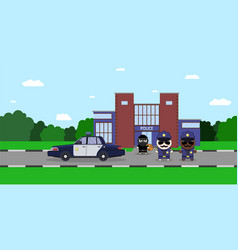 a policeman chasing a thief with vector image vector image