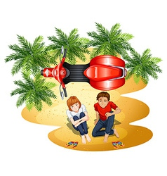 A topview of the park with a couple and a vehicle vector image