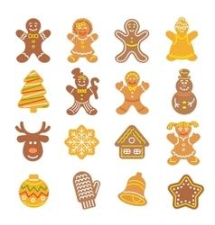 Christmas cookies flat icons set vector image