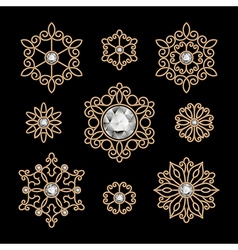 Gold jewelry set vector image