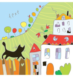 Kid drawing autumn at the village vector image