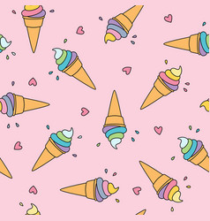 pastel ice cream seamless pattern with cute hearts vector image vector image