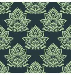 Seamless indian carved paisley green flowers vector image vector image