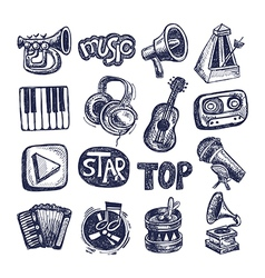 sketch music icon element collection vector image