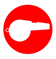 whistle sign white icon in red circle on vector image