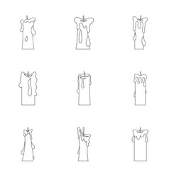 decorative candle icon set outline style vector image vector image