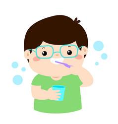 happy boy brushing teeth cartoon vector image vector image