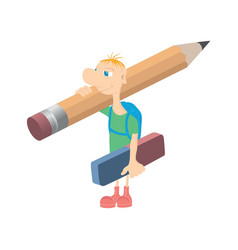 humorous little man with a pencil vector image