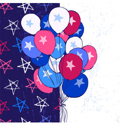 ink hand drawn background with balloons july 4th vector image vector image