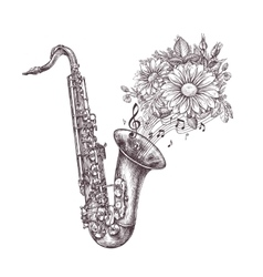 Jazz music Hand-drawn sketch a saxophone sax and vector image vector image