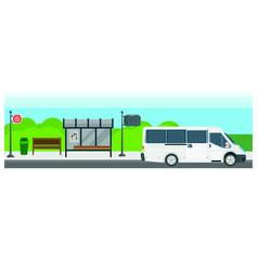 passenger public bus stop transport flat vector image vector image