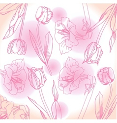 Pink and white background with peony vector image vector image