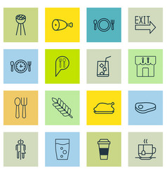 Set of 16 eating icons includes cutlery soda vector