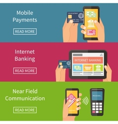 Internet banking mobile payments and nfc vector image vector image