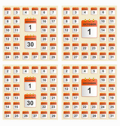 universal set of wall calendar from september to vector image