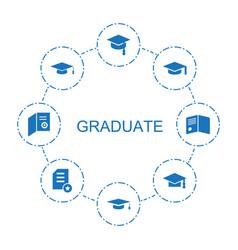 8 graduate icons vector