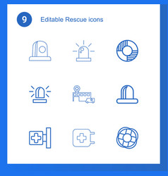 9 rescue icons vector