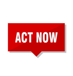Act now red tag vector