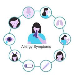 Allergy symptoms problem infographic allergy vector