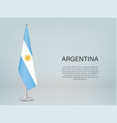 Argentina hanging flag on stand template vector