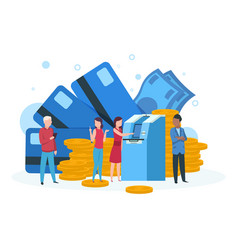 atm business concept customers with credit card vector image