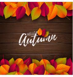 autumn with colorful leaves and vector image