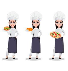 beautiful baker woman in professional uniform vector image