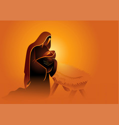 Biblical series mary holding baby jesus vector