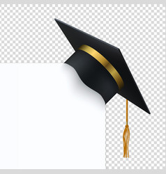 black degree ceremony hat with white banner 3d vector image