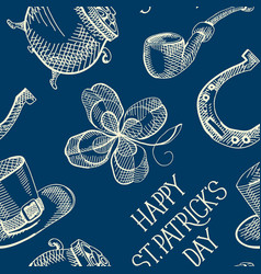 blue st patricks day seamless pattern vector image