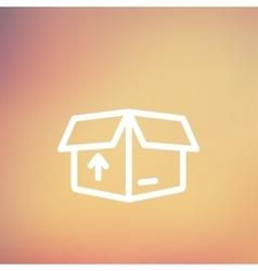 Box with arrow up inward incoming loading thin vector
