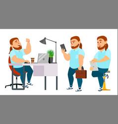 Business man character working man fat vector