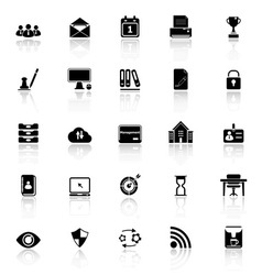 Business management icons with reflect on white vector