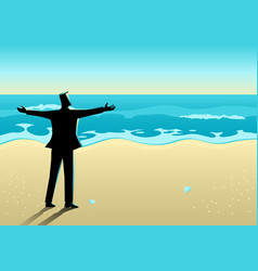 businessman open his arms at the beach vector image
