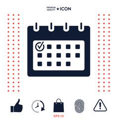 calendar with check mark- icon vector image
