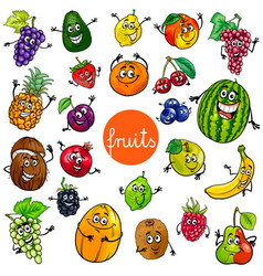 Cartoon fruits characters collection vector