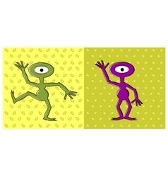 Cartoon funny one eyed alien dancing vector