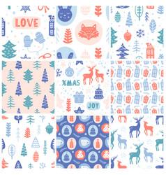 christmas doodles seamless pattern set vector image