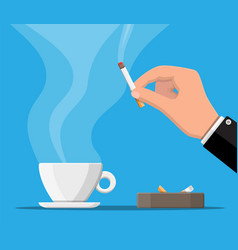 coffee cup and ashtray full smokes cigarettes vector image