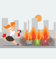 compliance with fire safety outside trash can vector image
