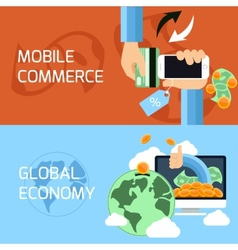 Concept for mobile commerce and global economy vector