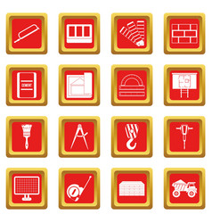 Construction icons set red vector